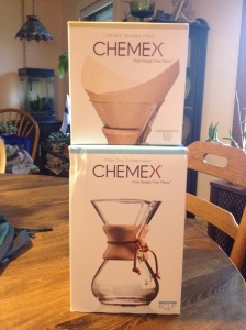 My first present of the day--Chemex pour-over coffee system.