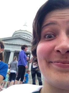 Crazy post-race selfie with the statehouse dome