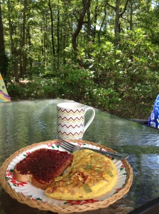 This was breakfast pretty much every day-veggie omelet, toast, coffee and patio :)
